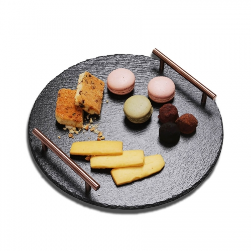 Slate Serving Tray With Metal Handles (Round)