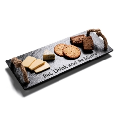 Slate Serving Tray With Jute Handles