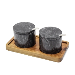 Marble Pepper & Salt Jar (Black)